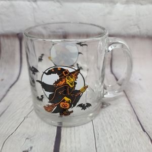 Vintage 70's 80's Halloween Witch Bats Glass Mug